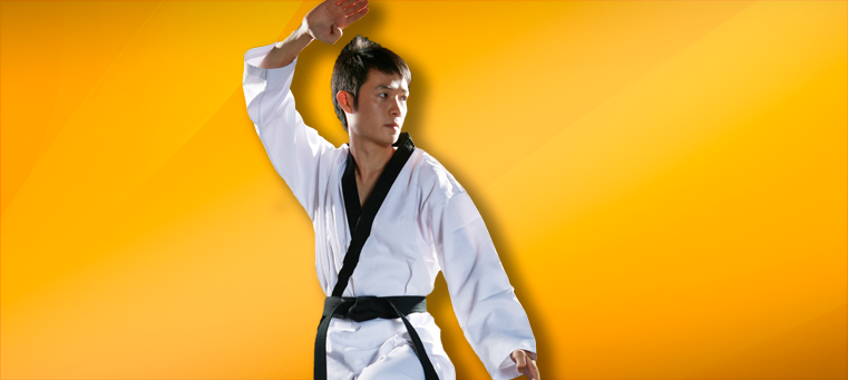 Adult man in a karate stance