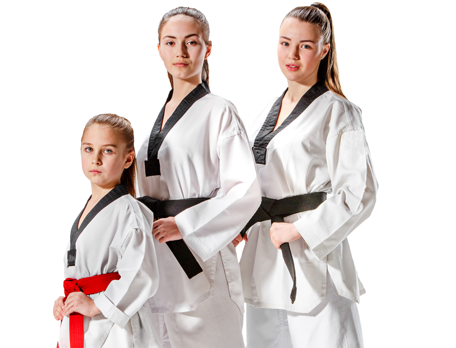 3 female martial arts students