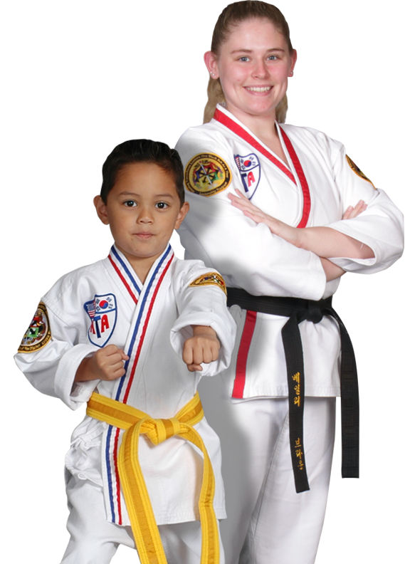 a teen girl and a young boy martial arts students