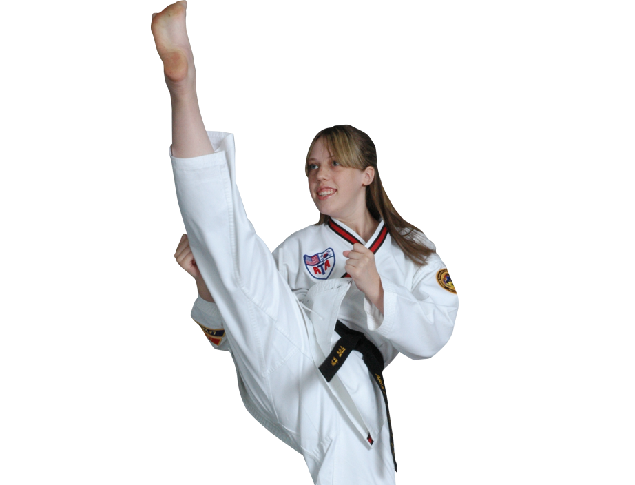 teen girl karate kicking